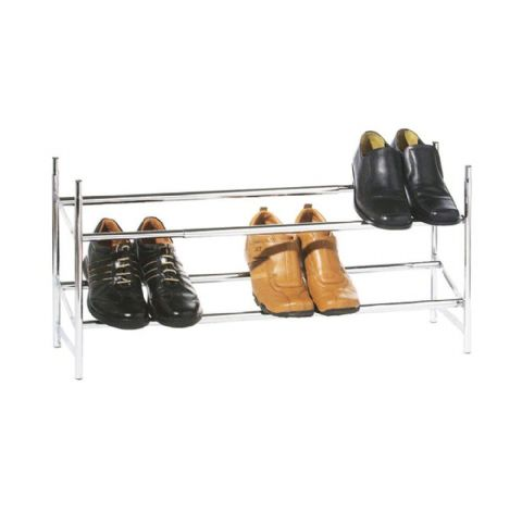 Wide Stacking Chrome Metal 2 Tier Shoe Storage Rack